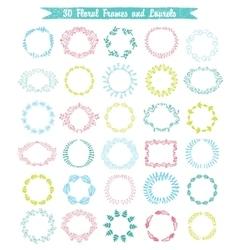 set of 30 hand drawn frames and laurels vector image vector image