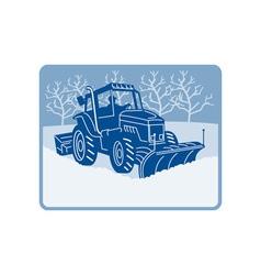 Snow plow tractor plowing winter scene vector image vector image