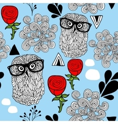 Winter owls seamless background vector image vector image