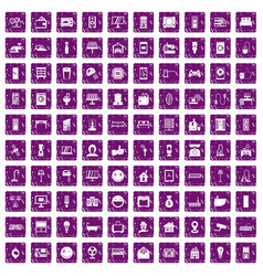 100 smart house icons set grunge purple vector image vector image