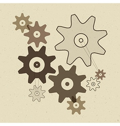 Abstract Cogs - Gears on Recycled Paper Back vector image