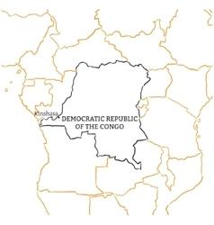 Democratic Republic of the Congo sketch map vector image