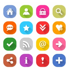 Flat basic icon set rounded square web button vector image vector image