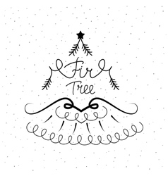 Hand drawn icon with a fir tree vector image vector image