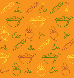 seamless pattern with eco food symbols vector image