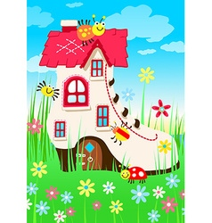 Shoe house with bugs and flowers vector image