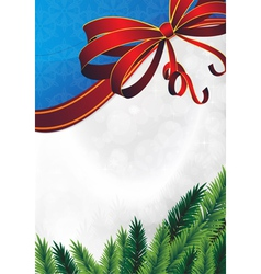 Spruce branches and red bow vector image