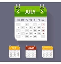 Calendar Set Flat Design vector image vector image