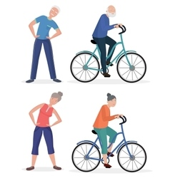 Fitness sport healthy old people grandparents vector image