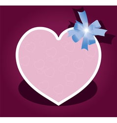 greeting card with bow for valentine day vector image vector image