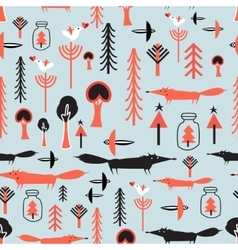 Pattern with winter trees and foxes vector image