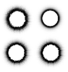 pop art dotted halftone circles set vector image