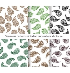 seamless patterns of indian cucumbers vector image