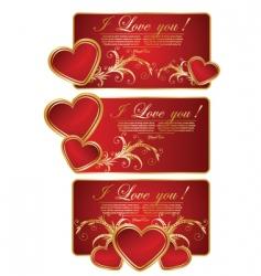 set of valentine greeting card vector image