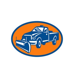 Snow plow pick-up truck inside oval vector image