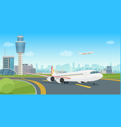 airport terminal building with aircraft airplane vector image