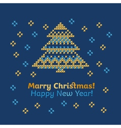 cross stitch pattern of snow nad tree of new year vector image