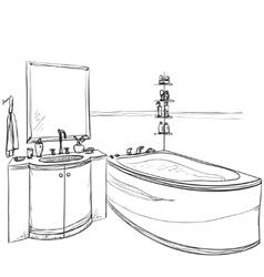 Hand drawn Bathroom Furniture sketch vector image vector image