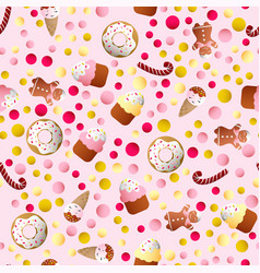 pattern with ice lolly cookies donuts with cream vector image