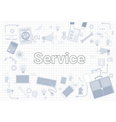 services word with office stuff icons on squared vector image