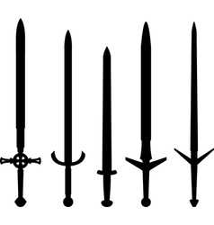 silhouettes of medieval swords vector image