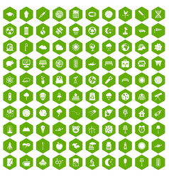 100 moon icons hexagon green vector