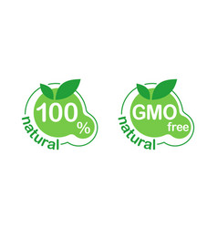 100 natural gmo free icons 2 in 1 vector