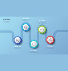 5 steps timeline chart infographic design vector image