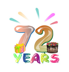 72 years birthday design for greeting cards vector image
