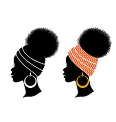 african american women profile black silhouette vector image