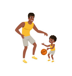 Afro-american father and his little son playing vector