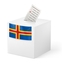 Ballot box with voting paper Aland Islands vector image