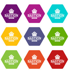 Bastion medieval icons set 9 vector