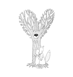 Beautiful magic tree two birds in a hollow hare vector image