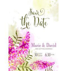 Beautiful wedding invitation with watercolor vector