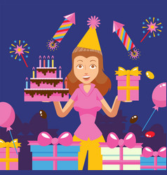 birthday party celebration cheerful woman holding vector image