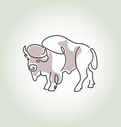 Bison in minimal line style vector