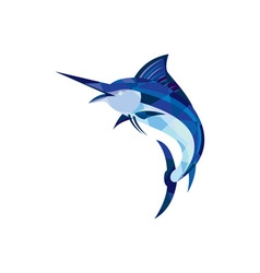 Blue Marlin Fish Jumping Low Polygon vector