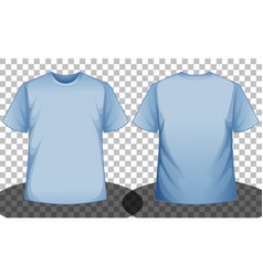 Blue short sleeve t-shirt front and back side vector