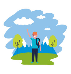 Boy with backpack travel mountains landscape vector