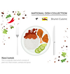 Brunei cuisine asian national dish collection vector