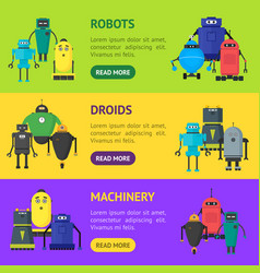 cartoon cute toy robots banner horizontal set vector image