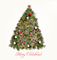 Christmas or new year greeting card xmas tree vector