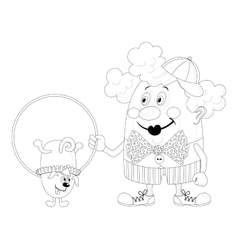 Clown with trained dog contour vector image