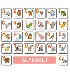 Color zoo alphabet square card with animals vector