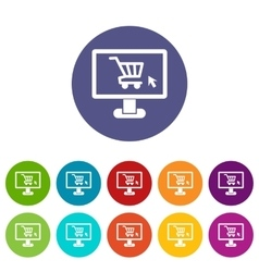 Computer monitor with shopping cart set icons vector image
