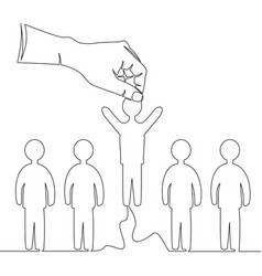 continuous line hand picking up person concept vector image