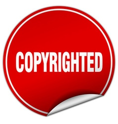 Copyrighted round red sticker isolated on white vector