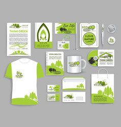 Corporate identity set ecology company templates vector