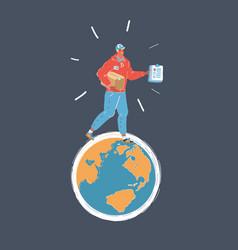 courier man walk around vector image